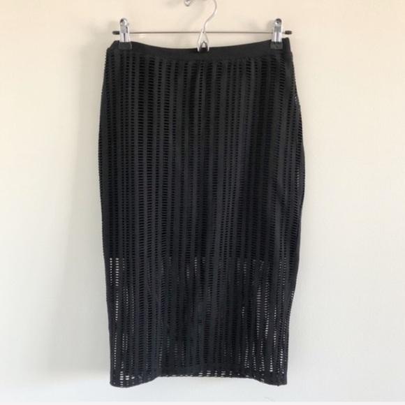 T by Alexander Wang Dresses & Skirts - T by Alexander Wang Laser Cut Black Jersey Skirt S